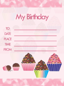 Printable Cupcake Birthday Party Invitation