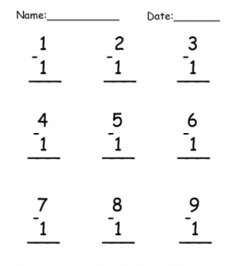 Subtraction Practice Free Printable Worksheet